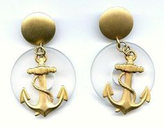 Vtg 1980s Big Nautical GoldTone Anchor Resin Clear Plastic Dangle Prced Earrings  $14.95
