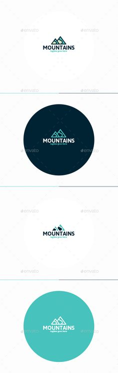 Mountains Logo by shaoleen �20Fully Editable Logo �20CMYK �20AI, EPS, PSD, PNG files �20Easy to Change Color and Text