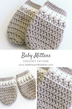 Baby Mittens Crochet Pattern - Dabbles & Babbles- This crochet baby mittens pattern is sweet and unique. It uses basic crochet stitches like single crochet and double crochet. Baby Mittens Crochet Pattern – Dabbles & Babbles Craftify My Love Crochet Baby Mittens, Crochet Mittens Pattern, Crochet Motifs, Crochet Baby Clothes, Crochet Gloves, Basic Crochet Stitches, Crochet Basics, Baby Knitting, Crochet For Baby