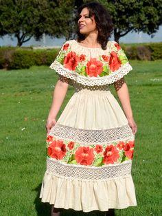 4e066d11273 Dress Beige Lace Crochet Mexican Outfit