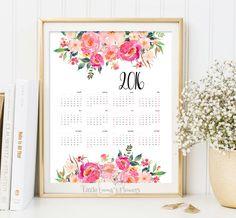 Printable Calendar 2016 yearly desk calendar poster classroom DIY wall Digital 2016 Planner 12 Month floral Colorful print art room decor by LittleEmmasFlowers on Etsy https://www.etsy.com/listing/253385918/printable-calendar-2016-yearly-desk