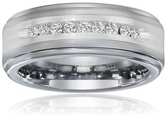 Triton Men's Tungsten and Silver Comfort Fit Diamond Wedding Band I-J Color), Size 9 -- Check out this great product. White Gold Wedding Rings, Wedding Rings For Women, Rings For Men, Diamond Promise Rings, Diamond Wedding Bands, Triton Rings, Wedding Ring Pictures, Promise Rings For Couples, Wedding Ring Designs