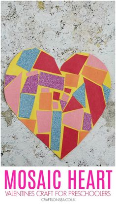 Easy Mosaic Heart Craft - Valentine crafts for kids - Preschool Valentine Crafts, Preschool Christmas Activities, Valentine Activities, Preschool Art, Valentine's Day Crafts For Kids, Toddler Crafts, Fun Crafts, Mosaics For Kids, Easy Mosaic