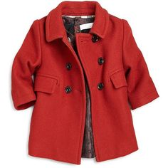 Burberry Little Girl's Wool Duffle Coat ❤ liked on Polyvore featuring kids