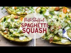 This Chicken Pesto Spaghetti Squash is a healthy low-carb, high protein dinner that's ready in just 40 minutes and filled with mushrooms, peppers & cheese!