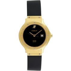 Hublot Hublot Women's Vintage Hublot MDM 18K Yellow Gold Watch, 28mm -... ($4,375) ❤ liked on Polyvore featuring jewelry, watches, gold, black dial watches, gold jewelry, vintage gold watches, gold wristwatches and water resistant watches