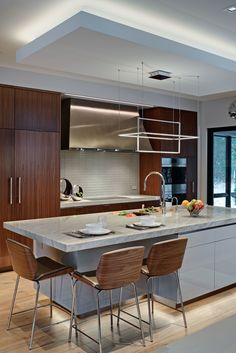 Streamlined Natural Walnut - Grabill Cabinets | Designed by Drury Design | Natural Walnut Cabinetry