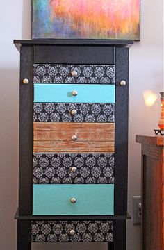 Such a creative makeover for this jewelry armoire using jumbo washi tape from Hazel & Ruby.  When you tire of it, you can simply peel it off and use a new style!