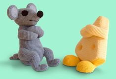 Mouse and Cheese #Crochet #Art by Patricia Waller