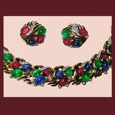 Photo 3: Exquisite Jewels of India parure. Signed TRIFARI      http://www.letsgetvintage.com/moreinfo.php?id=1762  Click on link to see more information.     SOLD