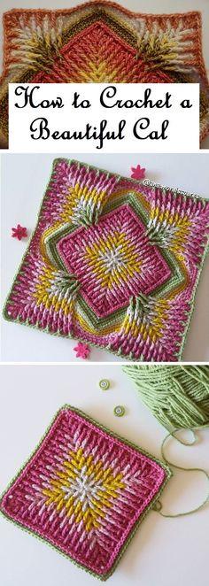 Crochet Cal Tutorial - Design Peak Crochet Pattern - Check this out now!Crochet Cal Tutorial – Design Peak Learn To Crochet Lace Tape Ribbon 5 Beautiful Crochet Ideas for Babies and Toddlers . Granny Square Crochet Pattern, Crochet Blocks, Crochet Squares, Crochet Blanket Patterns, Crochet Motif, Crochet Designs, Crochet Yarn, Crochet Stitches, Knitting Patterns