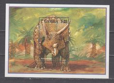 Gambia 1994 prehistoric animals dinosaurs fauna second s/s MNH