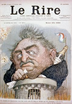 Cover of Le Rire issue 276, showing caricature of British financier Cecil Rhodes trapped in Kimberley during Boer War, seen emerging from tower clutching papers with champagne bottle behind his collar. 1900