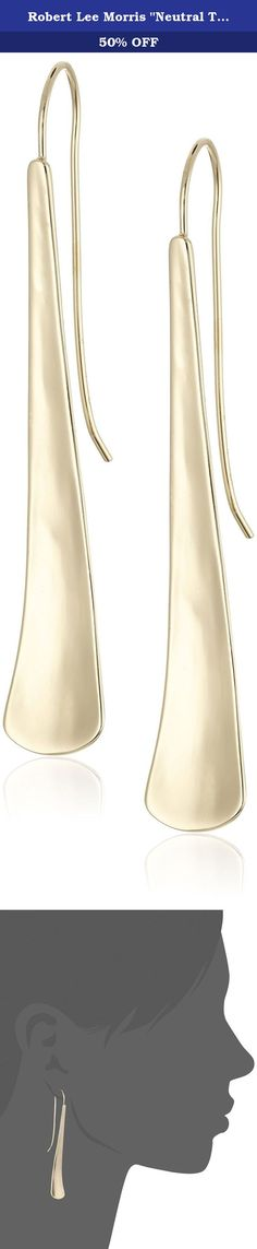 """Robert Lee Morris """"Neutral Territory"""" Sculptural Stick Linear Drop Earrings. Items that are handmade may vary in size, shape and color. Made in China. gold plated sculptural stick linear. hook closure. Item is Handmade. Imported."""
