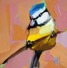 Blue Tit no. 22 original bird oil painting by Moulton 6 x 6 inches on panel  prattcreekart