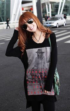 Korean Style Black Long Sleeve Women Round Neck Cotton T-Shirt One Size @FZ9497b