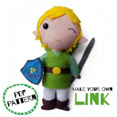 Make Your Own, Make It Yourself, How To Make, Legend Of Zelda, Felt Crafts, Hand Sewing, Pdf, Dolls, Christmas Ornaments