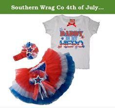 Southern Wrag Co 4th of July TIERED Tutu Set Little Girls DADDY IS MY HERO Design (4T). 4th of July Little Girls DADDY IS MY HERO Party Tutu Set, Super Soft, Super Full Semi-Sheer Ballet Dance Tutu. Perfect for July 4th Celebrations, Memorial Day, Veterans Day. Ballet, Costumes, Dance wear, Pageants and Recitals.
