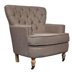 Mink Collette Button Back Armchair | Dunelm