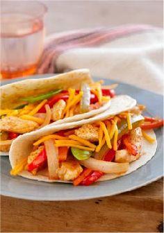 Weeknight Chicken Fajitas – Chicken, veggies and a kick of chili powder combine in these simple yet spectacular fajitas.