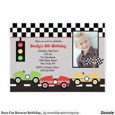 Race Car Racecar Brithday Boys Birthday Invitation Cars Parties Party Invitations Cupcake