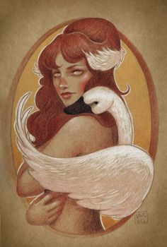 Girl with swan - Vero Navarro. Reminds me of the Children of Lir.