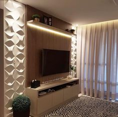 The storage cabinet TV background wall is also very practical now. The design that integrates the cabinet and the TV background is flexible, and different… Living Room With Fireplace, Living Room Decor, Interior Design Living Room, Interior Decorating, Tv Wall Cabinets, Tv Wall Decor, Wall Tv, Living Room Tv Unit Designs, Perfect Tv