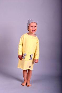 Happy Binko-żółta sukienka z kokardkami - HappyBinko - Sukienki dla dziewczynek