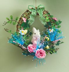 Fiber Optic Easter Bunny Floral Door Wreath