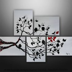 Abstrakte Malerei Liebe Vögel Baum-Malerei Acryl-Malerei