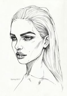 Quick pencil sketch on paper. Model: Dasha Derevyankina