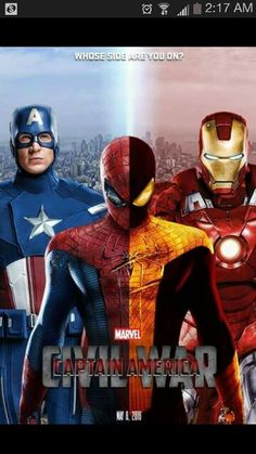 Captain America Civil War movie with Iron Man and Spider-Man