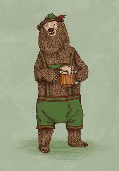 Traditional German Bear Art Print by WanderingBert / David Creighton-Pester - X-Small Folklore, Urso Bear, Lederhosen, Love Bear, Bear Print, Love Illustration, Street Art, Art Prints, Animal Prints