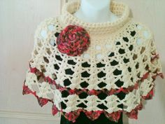 Crochet Shawl/Capelet in off white with por FAYSFABULOUSCROCHET, $43,00