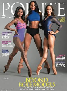 Professional ballerinas, Misty Copeland, Ashley Murphy and Ebony Williams on the June/July cover of Pointe Magazine