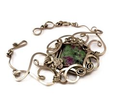 Wire Wrapped Bracelet with Ruby Zoisite stone