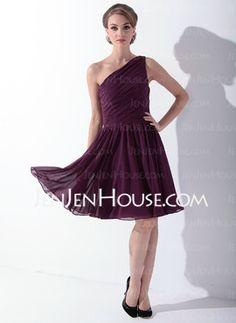 A-Line/Princess One-Shoulder Knee-Length Chiffon Charmeuse Bridesmaid Dresses With Ruffle Sash (007000918) - JenJenHouse.com