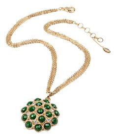 Take a look at this Amrita Singh Goldtone & Evergreen Crystal Cleopatra Necklace today!
