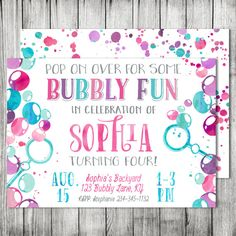 95 best bubble birthday images on pinterest dessert table ice watercolor bubbles birthday party bubble pop on over kids party invite double sided card jpg front filmwisefo