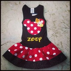 Personalized Minnie Mouse Dress. Black, red, & yellow.