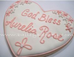 Baby Christening Favors - Baptism Favors Hearts- Cross - Pink and White Flowers
