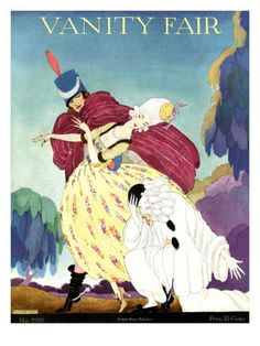 Vanity Fair Cover - May 1919    A clown kneels in despair as his beloved—a woman in an 18th-century gown and powdered wig—is escorted away by a dashing horseman in cape and spurs. Helen Dryden created this scene, which appeared on the May 1919 cover of Vanity Fair magazine.