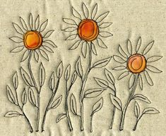 Love the idea of adding some hand stitched flowers to my next slow stitching project. Freehand Machine Embroidery, Machine Embroidery Projects, Free Motion Embroidery, Machine Applique, Free Machine Embroidery, Free Motion Quilting, Thread Art, Thread Painting, Fabric Painting