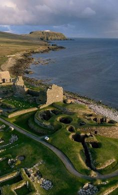 One of the best known prehistoric archaeological site Jarlshof in Shetland, Scotland