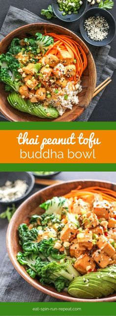 Peanut Tofu Buddha Bowl Thai Peanut Tofu Buddha Bowl: This vegan-friendly bowl is full of nutrition and flavour, and it might just be the best thing that ever happened to tofu!Thai Peanut Tofu Buddha Bowl: This vegan-friendly bowl is full of nutrition and Veggie Recipes, Asian Recipes, Whole Food Recipes, Chicken Recipes, Cooking Recipes, Healthy Recipes, Vegetarian Cooking, Best Vegan Recipes Dinner, Thai Vegetarian Recipes