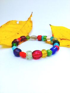 Colored Glass Bead Stretch Bracelet Multi-colored by BalmDesigns