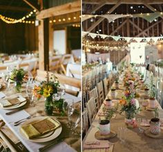 déco de table pour mariage champêtre - chemin de table en toile de jute, arrangements de fleurs des champs et guirlandes lumineuses