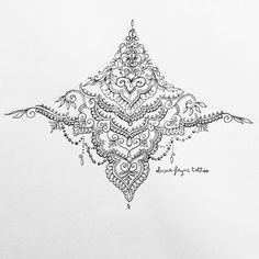 Mandala sternum tattoo by Caroline Tobitt | Tatuajes | Pinterest ...