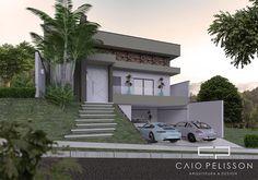 fachada casa térrea com garagem subsolo terreno 12x25 com aclive e desnivel lateral