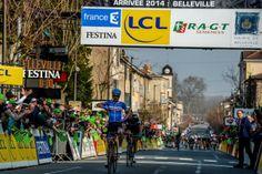 Tom Jelte Slagter (Garmin-Sharp) outsprints breakaway companion Geraint Thomas (Sky) to win stage 4 at Paris-Nice